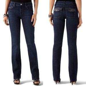 WHBM Embellished Flap Pocket Boot Leg Jeans
